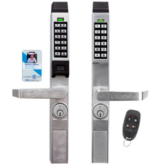 AlarmLock PDL1300NW and DL1300 Pushbutton Locks with remote and Card Scanner